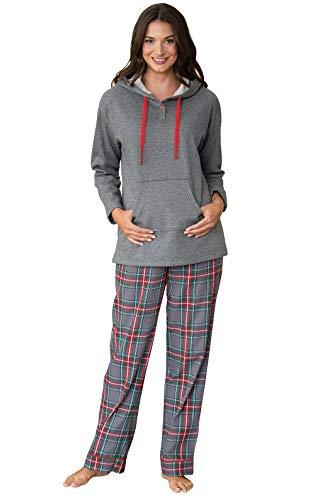 PajamaGram Womens Pajamas Soft Cotton - Winter Pajamas for Women, Gray, M, 8-10