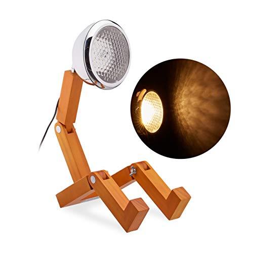 Relaxdays Tischlampe Männchen, LED Scheinwerfer, Holz, Gelenke, Design Schreibtischlampe, HxBxT: 40 x 14 x 25 cm, natur