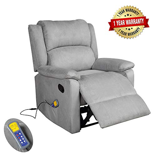 Merax Suede Heated Massage Recliner Sofa Chair Ergonomic Lounge with 8 Vibration Motors, Grey