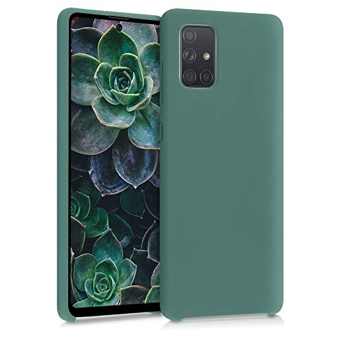 kwmobile Carcasa Compatible con Samsung Galaxy A71 - Funda de Silicona para móvil - Cover Trasero en Verde Bosque
