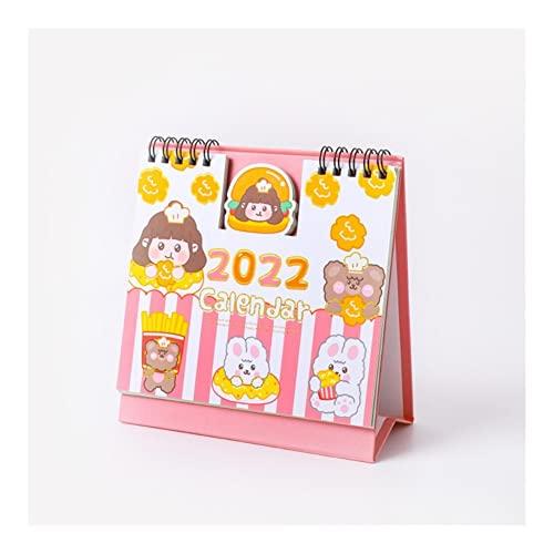 Calendario 2022 2022 años de calendarios de escritorio Lindo dibujos animados conejo oso diario programador 365 simple escritorio mini pequeño escritorio calendario kawaii papelería Año académico en p