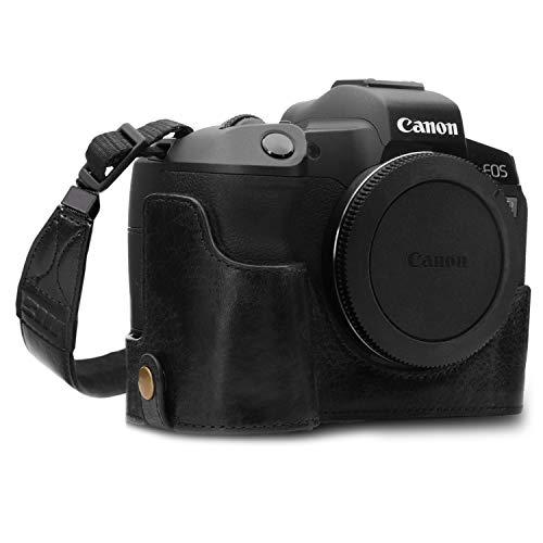 MegaGear MG1557 Ever Ready Meia capa de couro genuíno para câmera compatível com Canon EOS R - Preto