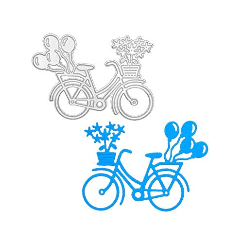 Set of Flower Balloon Bicycle Metal Cutting Die, Die Cuts Stencil Cutting Template Moulds Scrabooking Supplies for Invitation Card Making, Paper Crafting, Envelope, Emboosing, DIY Photo Album