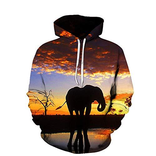 Puesta De Sol Animal Elefante Africano Sudaderas con Capucha Estampadas Sudaderas con Gráficos 3D Ropa...