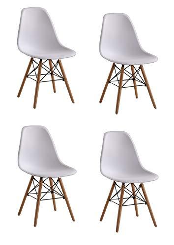 Naturelifestore 4 x Designer Kunststoff Stuhl Polypropylen und ausBuchenholz, Wohnzimmerstuhl Esszimmerstuhl Bürostuhl (Weiß)