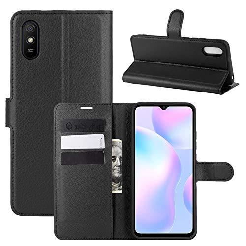 betterfon | Xiaomi Redmi 9A Hülle Handy Tasche Handyhülle Etui Wallet Hülle Schutzhülle mit Magnetverschluss/Kartenfächer für Xiaomi Schwarz Xiaomi Redmi 9A Schwarz