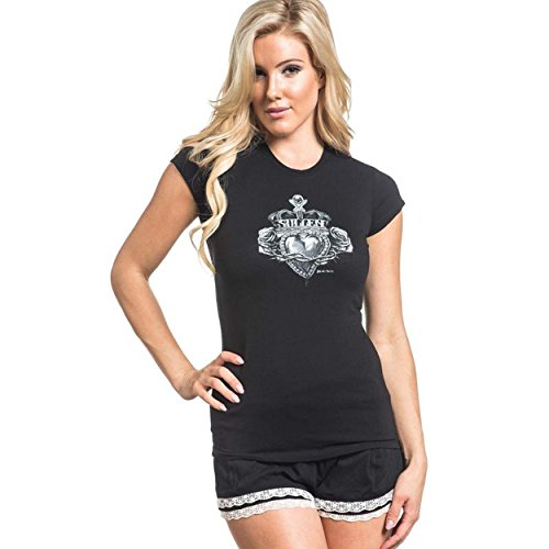 Sullen Angels Women's Royal Heart Short Sleeve T-Shirt Black (2X-Large)