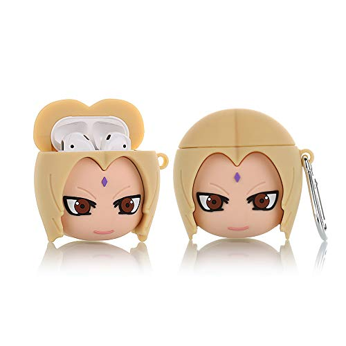 YIGEYI Silicone Case Compatible with Airpods 1&2 Funny Cute 3D Cartoon Cover [3D Naruto Animation Design] (Tsunade)