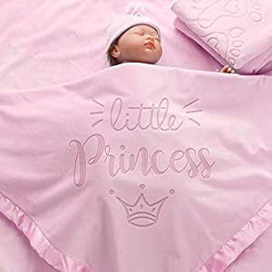 AW BRIDAL Princess Baby Blanket for Girls Infant Shower Gift Baby Crib Bedding Blanket Newborn Receiving Blankets 36X36Inch,Pink