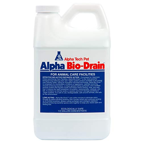 Alpha Tech Pet Bio-Drain Cleaner and Pet Odor Remover   Eliminates Pet Odors in Minutes   1/2 Gallon Bottle by KennelSol