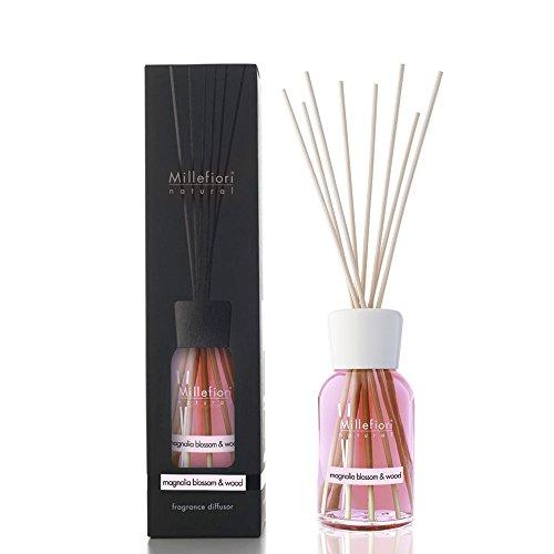 Millefiori 7DDMW Magnolia Blossom und Wood Raumduft Diffuser 250 ml Natural inklusive Stäbchen, Glas, Rosa, 8 x 30.9 x 7.6 cm