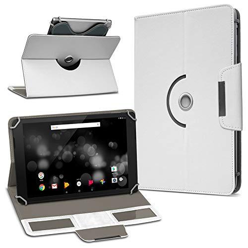 UC-Express TrekStor Primetab P10 Tablet Hülle Tasche Schutzhülle Case Schutz Cover Drehbar, Farbe:Weiss
