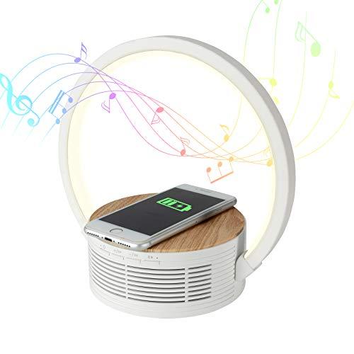 Decorus Lampara Cargador Inalambrico Lámpara de Mesa de Control de Sensor táctil, Cargadores por inducción Bluetooth Altavoz 10W de Nocturna Led Táctil Regulable