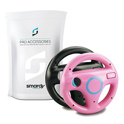 smardy 2x Volante de carreras / Racing Wheel De Dirección rosa + negro compatible con Nintendo Wii y Wii U Remote (Mario Kart, Juego De Carreras...)