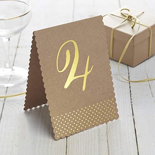 Tischnummern aus Kraftpapier 1-12 - 2