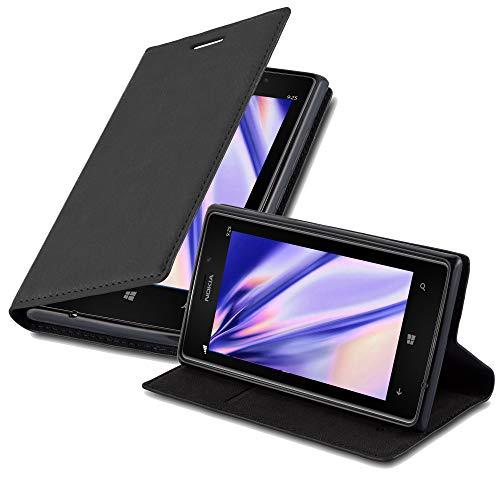 Cadorabo Custodia Libro per Nokia Lumia 925 in Nero di Notte - con Vani di Carte, Funzione Stand e Chiusura Magnetica - Portafoglio Cover Case Wallet Book Etui Protezione