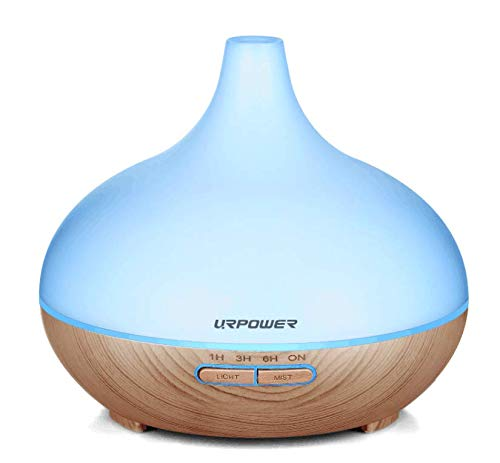 Aromatherapy Essential Oil Diffuser, URPOWER 300ml Wood Grain Ultrasonic Cool Mist Whisper-Quiet Humidifier with Color Night Light & 4 Timer Settings, Waterless Auto Shut-Off for Home Office Yoga Spa