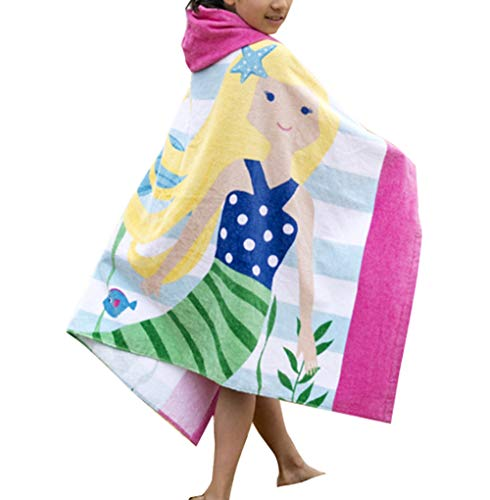 Ymwave Kinder Kapuzen Handtuch Bade Badetuch Bademäntel Strandtuch Badetuch Baby Kapuzentuch für Jungen und Mädchen 100% Baumwolle, , Gelbes Haar Meerjungfrau