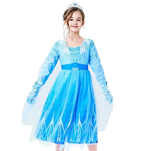 Sunny Fashion Vestido para niña Nieve Reina Hielo Copo de Nieve Corona Varita mágica Princesa Disfraz 5 años