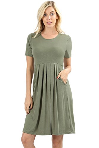 Women's Pleated Swing Dress Short Sleeve Casual T Shirt Loose Dress with Pockets - Ligth Olive (Large)