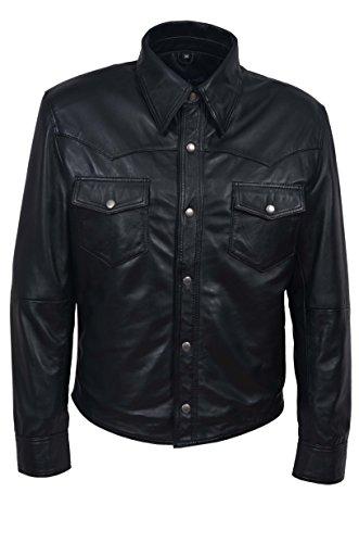 Les hommes de M114 noir collier réglable décontracté doux rétro en cuir véritable veste chemise (38)