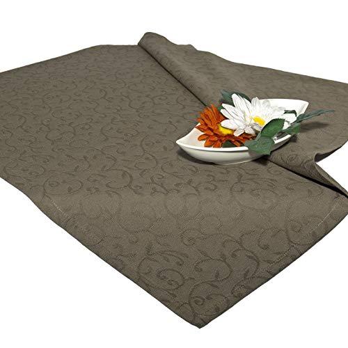 Tischdecke Mitteldecke NEAPEL/Ranken Muster / 80x80 cm/Taupe braun
