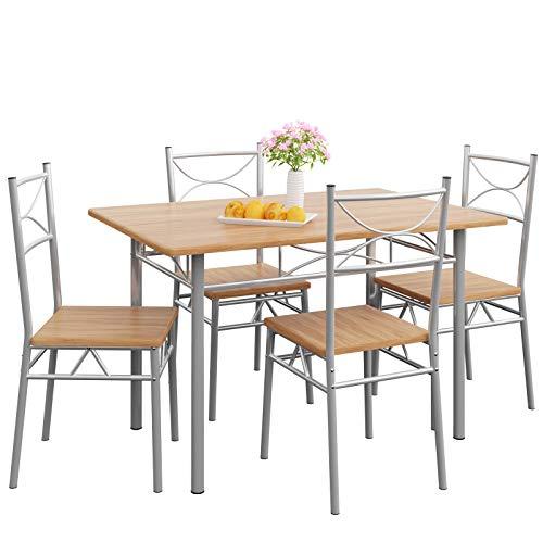 Casaria 5 TLG Sitzgruppe Paul Esstisch mit 4 Stühlen Buche für Esszimmer Küche Essgruppe Küchentisch Tisch Stuhl Set