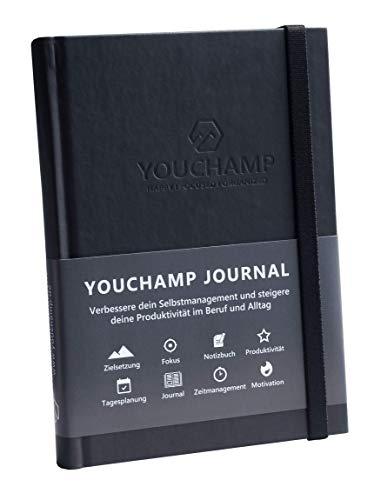 YOUCHAMP Selbstmanagement Journal | Tagesplaner und Erfolgsjournal | Einfache Tagesplanung für eine gesteigerte Produktivität | Perfekt zur Entwicklung neuer Gewohnheiten (Schwarz)
