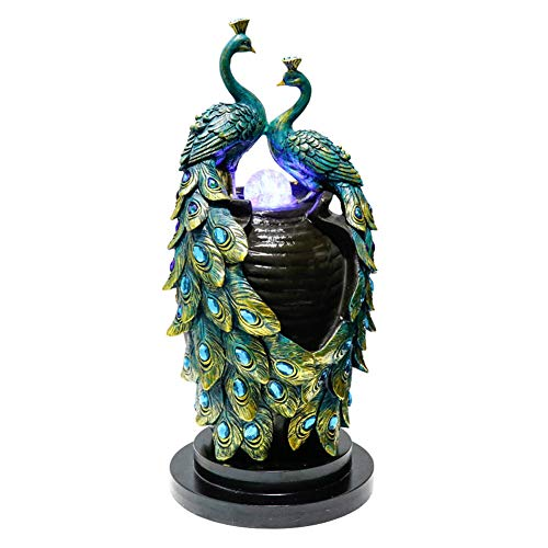 YGZS Indoor Decoration Fountain, Peacock Statues Indoor Tabletop Water Fountain Resin Statue Home Decor Indoor Fountains-Blue 22×22×49cm