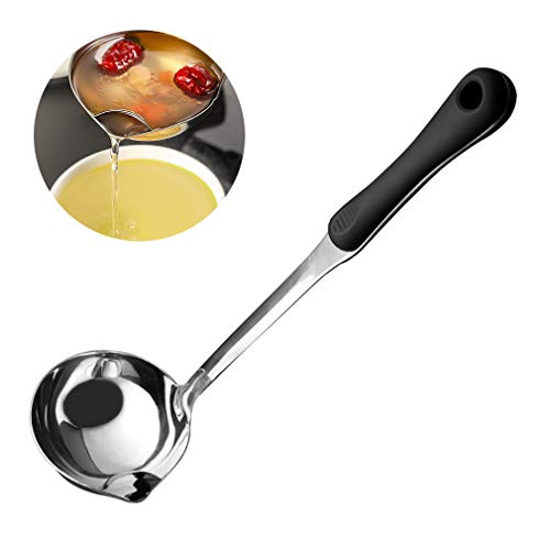 ANMAIKER Stainless Soup Fat Oil Separator Ladle304 Stainless Steel Ladle Heat Insulation Antiscalding Plastic Handle Oil Filter Skimmer Spoon Soup Colander for Kitchen