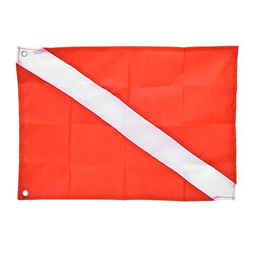 Qukaim Marcador de señal de Seguridad con Bandera de Buceo Rojo y Blanco para Buceo, Snorkel, Herramienta Deportiva subacuática(60 * 70cm)