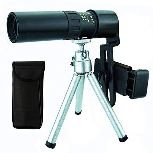 Telescopios monoculares, 10-30X25 Monocular FMC Prism BAK4 Telescopio monocular impermeable con adaptador de teléfono inteligente y trípode para observación de aves, senderismo, juego de pelota