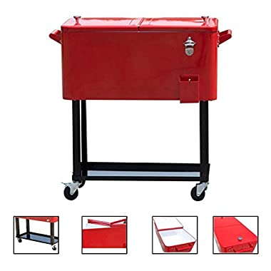 General 80-quart Portable Rolling Ice Chest Cooler Cart Patio Party Drink Ice (Red)