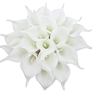Veryhome 20pcs Lifelike Artificial Calla Lily Flowers for DIY Bridal Wedding Bouquet Centerpieces Home Decor (Pure White)