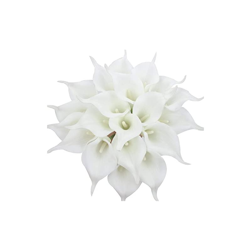 silk flower arrangements veryhome 20pcs lifelike artificial calla lily flowers for diy bridal wedding bouquet centerpieces home decor (pure white)