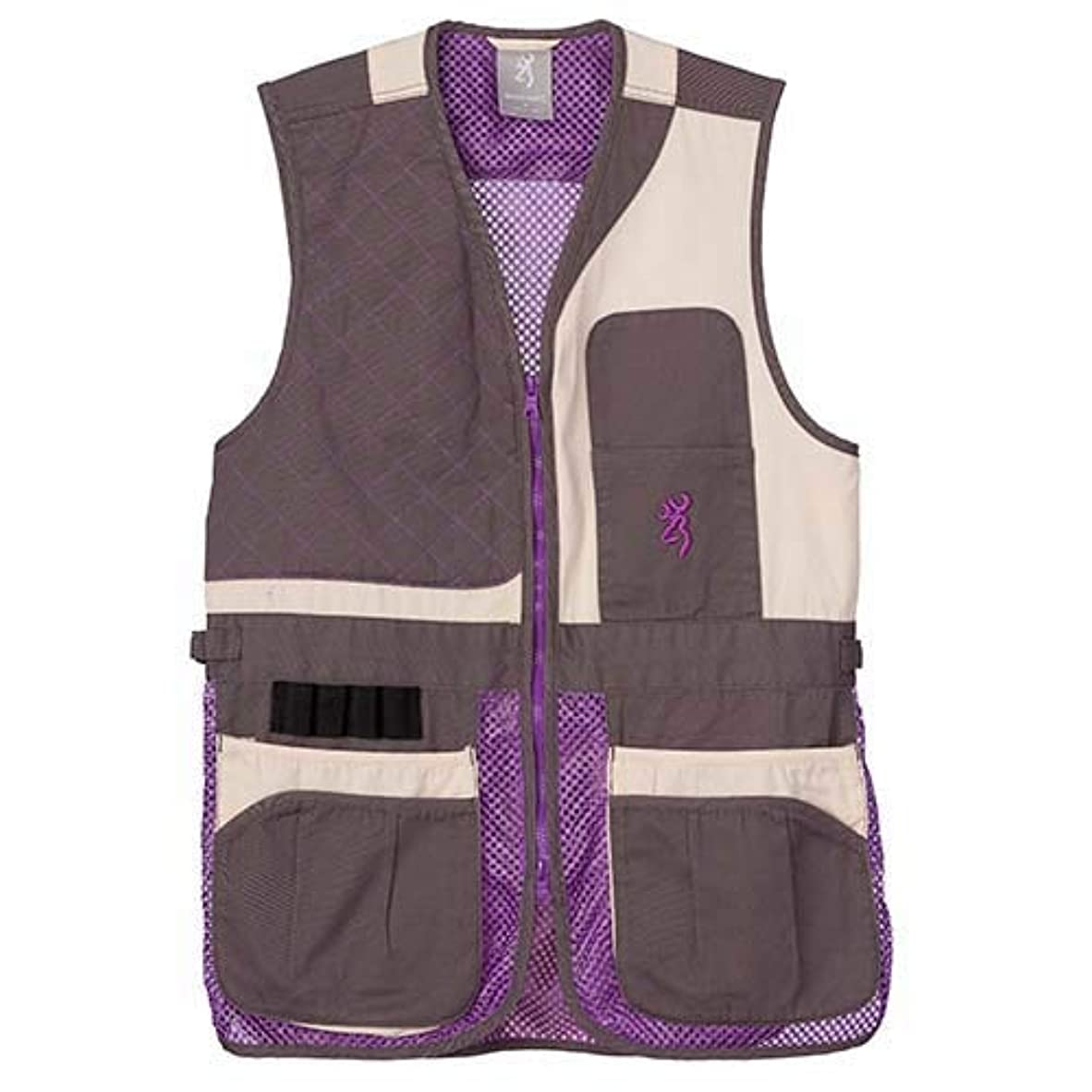 シャックル玉起業家BrowningレディースTrapper CreekメッシュShooting vest-cream/Plum/グレー