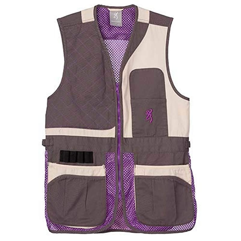 かる真実ウィンクBrowningレディースTrapper CreekメッシュShooting vest-cream/Plum/グレー