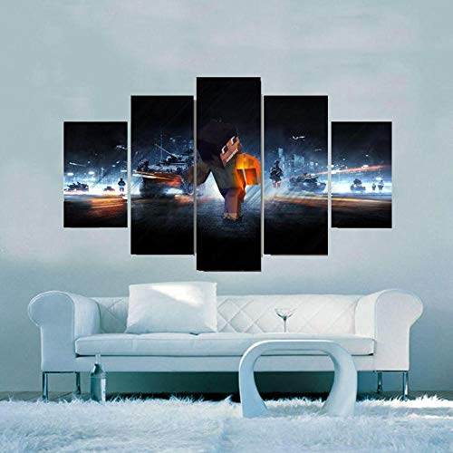 RAINSGIFT 5 stück lein Poster Wandbilder Spiel Minecraft Schlacht wanddeko Wand wohnzimmerkunst Bild Schlafzimmer