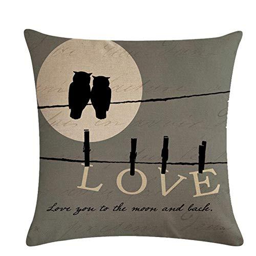 QIWei - Federa decorativa per cuscino decorativo con lettere e lettere in fattoria, per divano, soggiorno, camera da letto, gufo