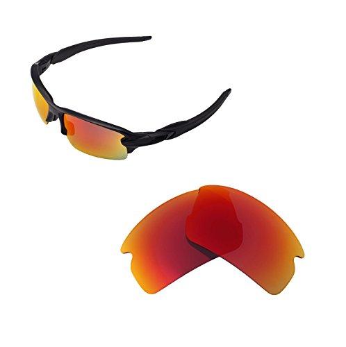 Walleva Ersatzgläser für Oakley Flak 2.0 Sonnenbrille - Mehrfache Optionen verfügbar (Feuerrot - Polarisiert)