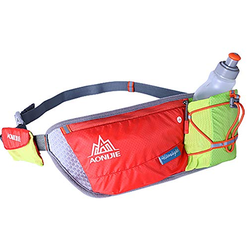 Cinturón De Correr Unisex con Soporte De Botella De Agua Reflexivo Impermeable Cintura De Cintura para Mujer para Mujeres Paquete De La Cintura Titular del Teléfono,Rojo