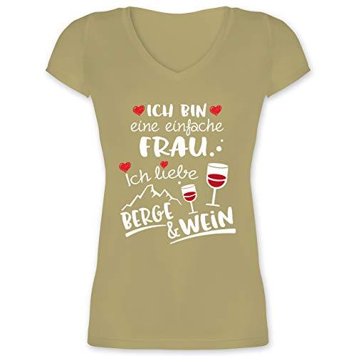 Après Ski - Einfache Frau - Berge & Wein - weiß - XS - Olivgrün - T-Shirt - XO1525 - Damen T-Shirt mit V-Ausschnitt