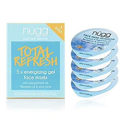 nügg Revitalizing Face Mask for Dull and Tired skin; For an Invigorating Skin Boost and a Fresh, Radiant and Dewy Complexion; 95% Natural with Flaxseed & Peppermint Oil; 5 Pack of Single Use Gel Face Mask Pods; Allure Best of Beauty Award Winner from nügg