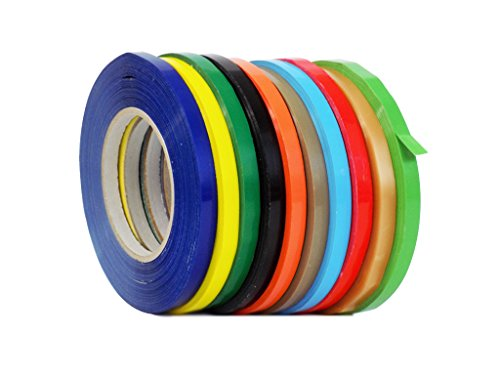 WOD BSTC24PVC Rainbow Produce Poly Bag Sealing Tape, 3/8 in. x 180 yds. (Pack of 8) (Available in Multiple Sizes & Colors)