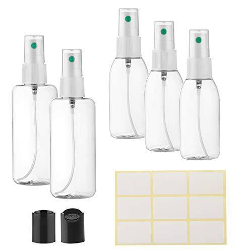 MADE IN EU | 2 Botellas de spray vacías pequeñas de 100 ml y 3 de 50 ml | Pulverizador Botella rociadora recargable con bomba y extra de 2 disc top tapas | Spray bottle