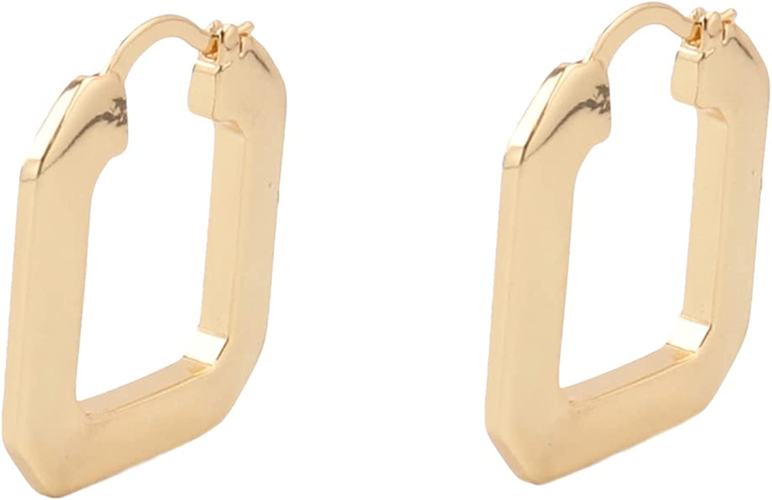 Custom 1 Pair Brass 18K Gold Filled Dainty Flat Square U-shape Hoops Earrings Simple Daily Style Brands Boutique Factory Wholesale