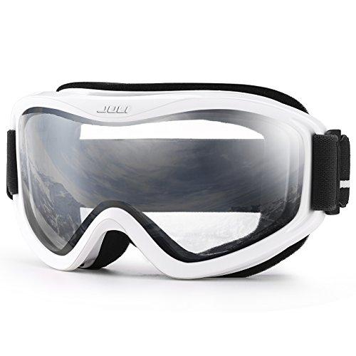 Juli Ski Goggle/Snow Snowboard Goggles for Men, Women & Youth - 100% UV Protection Anti-Fog Dual Lens(White Frame+83% VLT Clear Lens)