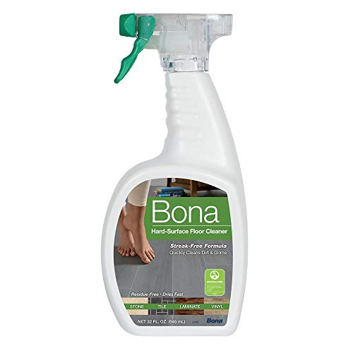 Bona Stone, Tile & Laminate Floor Cleaner Spray Formulated for linoleum, stone, terrazzo, vinyl, sealed porous marble, laminate and no-wax sealed tile , 32 oz. Dries fast, no dulling residue