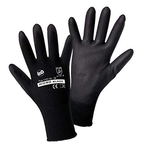L+D worky MICRO black Nylon-PU 1151 Nylon Arbeitshandschuh Größe (Handschuhe): 10, XL EN 388 CAT II 1 Paar