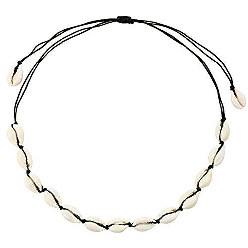 LOXBEE Natural Shell Choker Necklace for Women Handmade Adjustable Seashell Choker Summer Jewelry for Women Girls